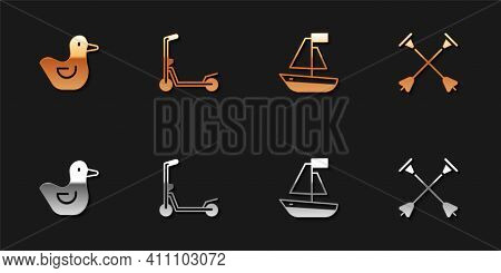 Set Rubber Duck, Scooter, Toy Boat And Arrow With Sucker Tip Icon. Vector