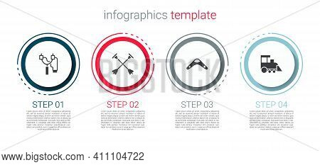 Set Slingshot, Arrow With Sucker Tip, Boomerang And Toy Train. Business Infographic Template. Vector