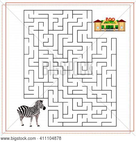 A Maze Puzzle Game For Kids. Help Me Get Through The Maze. Zebra, Zoo. Vector Illustration Isolated