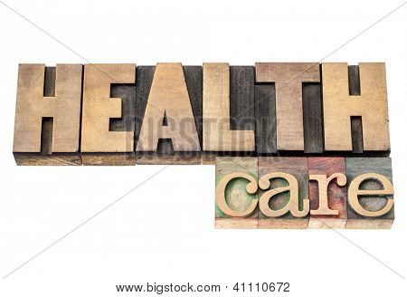 health care  - isolated text in vintage letterpress wood type printing blocks