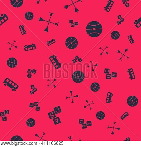 Set Abc Blocks, Arrow With Sucker Tip, Bus Toy And Basketball Ball On Seamless Pattern. Vector