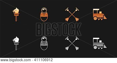 Set Toy Horse, Tumbler Doll Toy, Arrow With Sucker Tip And Train Icon. Vector