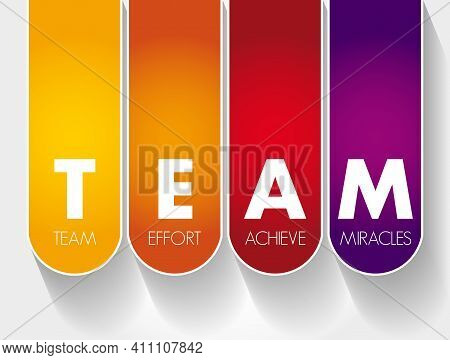 Team - Team Effort Achieve Miracles Acronym, Business Concept Background
