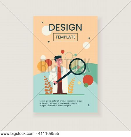 Scientist In Lab Coat Checking Algorithm Flat Vector Illustration. Cartoon Character With Magnifier