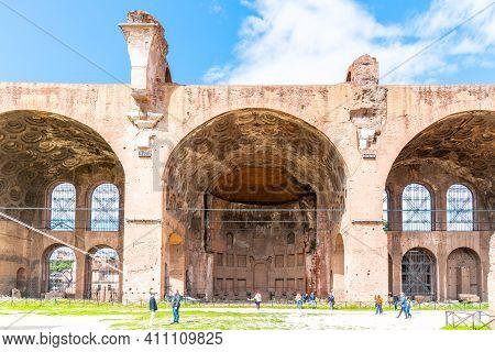 Rome, Italy - May 06, 2019: Monumental Arches Of Basilica Of Maxentius, Italian: Basilica Di Massenz