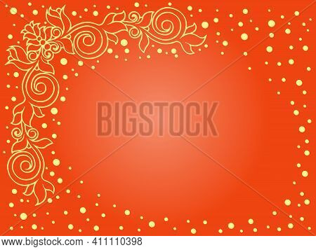 Greeting Card With Elements Of Plants And A Gradient In Yellow And Orange Hues