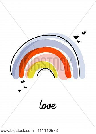 Artistic Vector Illustration Of Playful Rainbow. Funny Design For Cute Greeting Card Or Cool Poster.