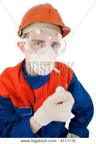 Man In Respirator Smoking