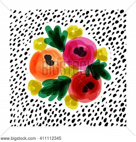 Creative Vector Illustration Of Vivid Flower Bouquet On Dotted Background. Bold And Playful Design F