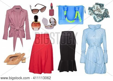 Collage Woman Clothes. Set Of Stylish And Luxurious Trendy Women Coat, Skirts, A Blouse Or Shirt, Ha