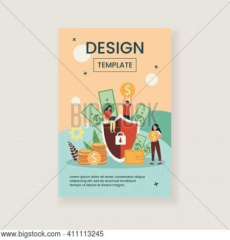 Money Insurance Concept. People Protecting Their Cash And Savings With Shield. Flat Vector Illustrat
