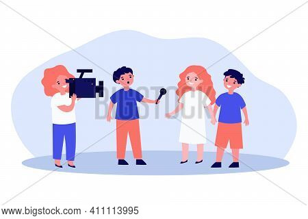 Kids Acting News Reportage Shooting. Children With Video Camera, Interview, Microphone. Flat Vector
