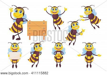 Happy Bee Set. Funny Mascot Character, Bumblebee Flying, Carrying Honey, Waving Hello At Hive Isolat