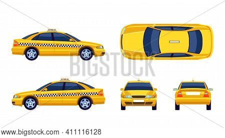 Different Views Of Taxi Yellow Car Flat Collection For Web Design. Cartoon Cab View From Side, Front