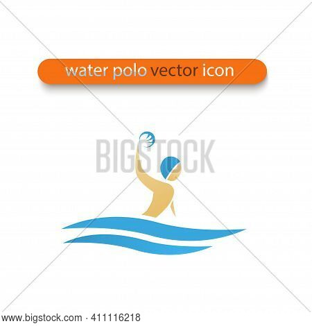 Water Polo Vector Flat Design Icon. Water Sports Symbol. Illustration Of Man In Water With Ball In H