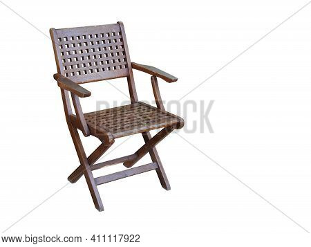 Beautiful Wooden Chair With Backrest On White Background, Object, Furniture, Copy Space
