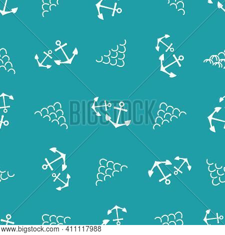 Anchors And Abstract Waves Vector Seamless Pattern Background. Scribbled Wavy Lines And Boat Tools A