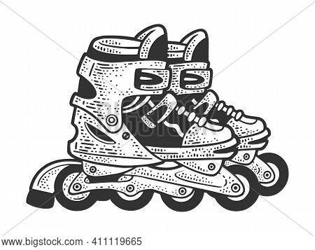 Roller Skates Sketch Engraving Vector Illustration. T-shirt Apparel Print Design. Scratch Board Imit