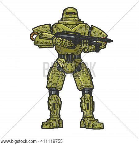 Robot Military Soldier Color Sketch Engraving Vector Illustration. T-shirt Apparel Print Design. Scr