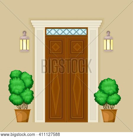 Facade Of Wooden Front Double Door With Decorative Bushes In Cachepot And Light Vector Illustration
