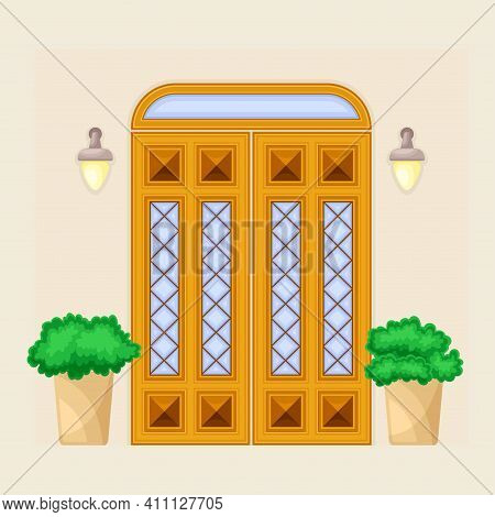 Facade Of Front Double Door With Window Ornate Decorated With Bushes In Cachepot And Light Vector Il