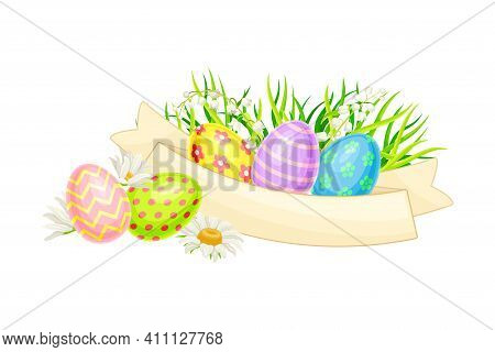 Decorated Easter Eggs Or Paschal Eggs Rested In Green Grass With Spring Flowers And Ribbon Vector Ar