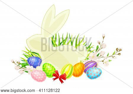Easter Bunny Silhouette With Paschal Eggs Rested In Green Grass With Spring Flowers And Bow Vector A