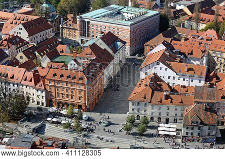 Ljubljana, Slovenia - October 12, 2014:  Architecture Downtown At Sunny Autumn Day Aerial View In Lj