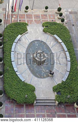 Ljubljana, Slovenia - October 12, 2014: Aerial View Of Hotel Union Fountain In Ljubljana, Slovenia.