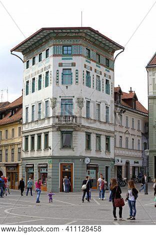 Ljubljana, Slovenia - October 13, 2014: Skb Bank Building Societe Generale At Preseren Square In Lju