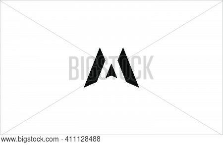 Letter M Am Ma Mm Monogram Logo Design Minimal Icon With Black Color