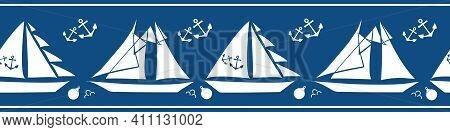 Boats, Anchors, Buoys Vector Seamless Border. Navy Blue White Banner With Yachts And Sailing Equipme