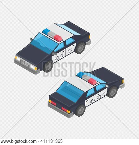 Isometric Black And White Police Interceptor Car. Police Cars Transport Patrol In Two Projections. V
