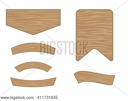 Cartoon Wooden Banners Isolated On A White Background. An Illustrative Set Of Bulletin Boards. Brown