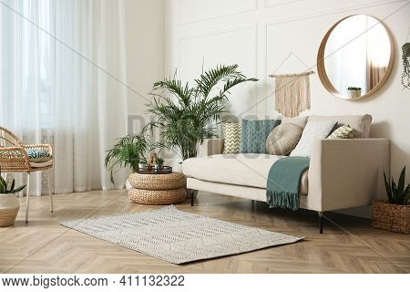 Stylish Living Room Interior With Beautiful House Plants