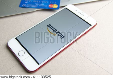 Spain. 03, 05, 2021. Amazon Apps On Iphone Screen. Amazon Owned By Amazon Inc., The Largest Internet