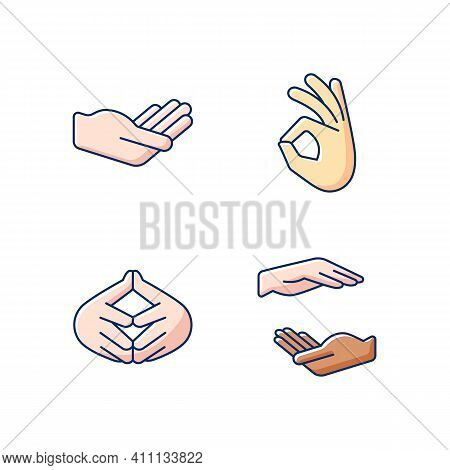 Hand Gestures Rgb Color Icons Set. Okay Gesture. Steeple Hand. Two Hands Holding Something.gesturing