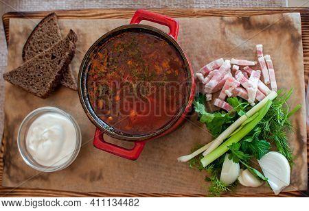 Photo For Menu, Russian Borscht With Sour Cream Garlic Pepper And Sauce, Ukrainian Borscht With Sour