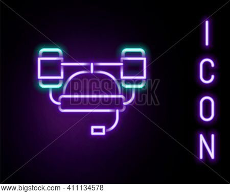 Glowing Neon Line Beer Helmet Or Hand Free For Drink Icon Isolated On Black Background. Colorful Out