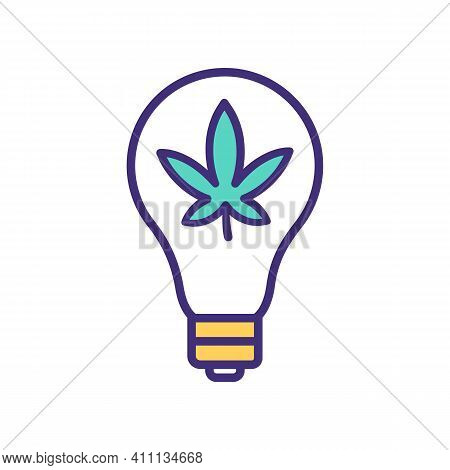 Green Energy Power Rgb Color Icon. Electricity Produced From Eligible Biomass. Marijuana Cultivation