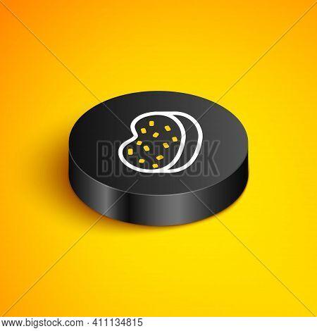 Isometric Line Bath Sponge Icon Isolated On Yellow Background. Sauna Sponge. Black Circle Button. Ve