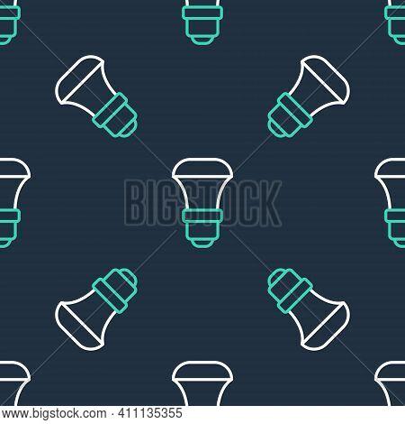 Line Led Light Bulb Icon Isolated Seamless Pattern On Black Background. Economical Led Illuminated L