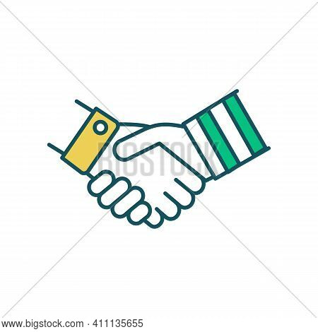 Dealmaking In Business Rgb Color Icon. Cooperation, Collaboration. Successful Negotiation Process. L