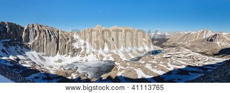 Mount Hitchcock Panorama - High Sierra scenery viewed from Mount Whitney. poster