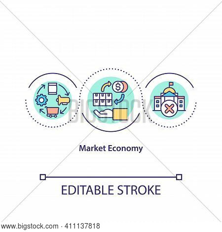 Market Economy Concept Icon. Planning Financial Strategy During Covid Pandemic. Economic Recovery Id
