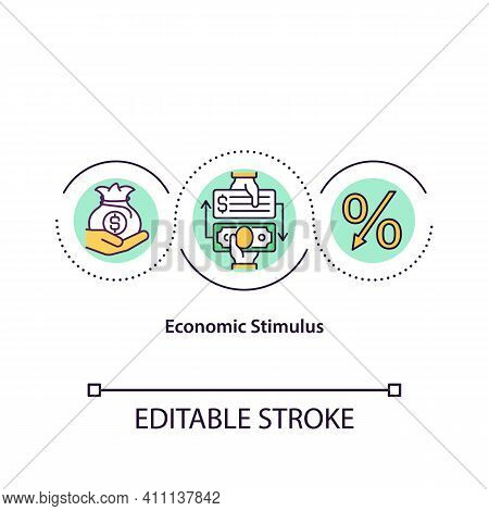 Economic Stimulus Concept Icon. Encourage Sector Economic Activity By Engaging In Financial Policy.