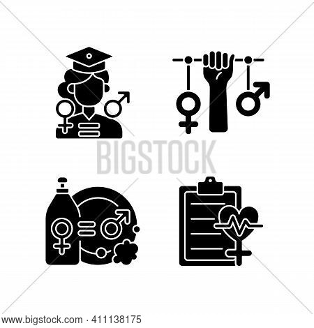 Equal Education Opportunities Black Glyph Icons Set On White Space. Division Of Domestic Labour. Str