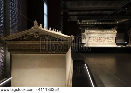 Istanbul, Turkey - January 27, 2021: Alexander Sarcophagus In Istanbul Archaeological Museums, Istan