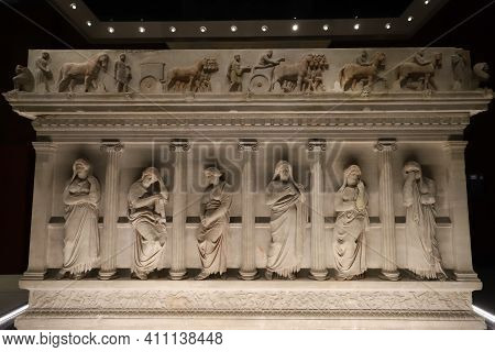 Istanbul, Turkey - January 27, 2021: Sarcophagus In Istanbul Archaeological Museums, Istanbul City,
