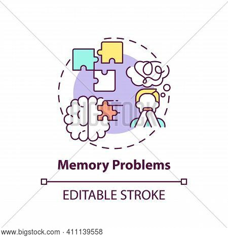 Memory Problems Concept Icon. Short-term Memory Loss And Confusion Idea Thin Line Illustration. Effe